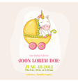 Baby Shower or Arrival Card - Baby Unicorn Girl vector image vector image