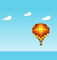 blue sky with clouds and air balloon vector image