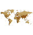Brown detailed World map vector image vector image