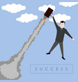 businessman flying with a suitcase vector image