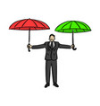 businessman holding red and green umbrella vector image vector image
