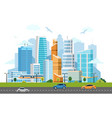 city downtown skyscrapers landscape vector image vector image