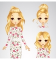 Collection Of Hairstyle Girl In White Rose Dress vector image vector image