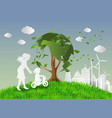 concept of eco with family vector image vector image