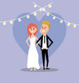 couple married with lights decoration design vector image vector image