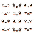 cute faces kawaii emoji cartoon vector image