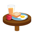 delicious breakfast in wooden table vector image vector image