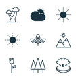 ecology icons set with clear sunrise mountains vector image vector image