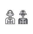 firefighter line and glyph icon fire and person vector image vector image