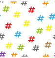 flat design abstract colorful hashtag symbol vector image