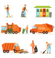 garbage collector at work set of vector image vector image