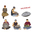 Hang drum musician set vector image vector image