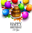 happy birthday card party colorful balloons vector image