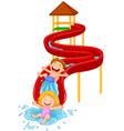 Happy children on water sliding vector image vector image