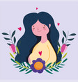happy mothers day woman flower foliage hearts vector image vector image