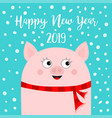 happy new year 2019 pig wearing red scarf chinise vector image vector image
