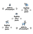 Happy new year and merry christmas lettering vector image