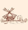 landscape mill chicken vector image vector image