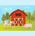 livestock animals cow and pig near warehouse vector image