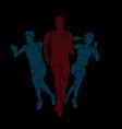 marathon runner start running group people vector image vector image