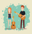 music festival live with couple playing guitars vector image vector image
