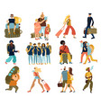 people trips isolated icons set vector image vector image