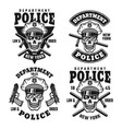 police department emblems with skull vector image vector image