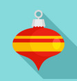 red xmas cone toy icon flat style vector image