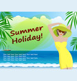 relax on beach girl in hat on sea background vector image vector image