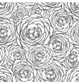 rose seamless pattern black and white vector image vector image