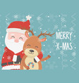 santa and reindeer celebration happy christmas vector image vector image