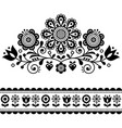 scandinavian folk art pattern with flowers vector image vector image