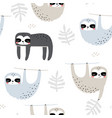 seamless childish pattern with funny sloths vector image vector image