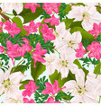 seamless texture pink rhododendrons and twig vector image vector image