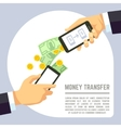 Sending and receiving money wireless with mobile vector image