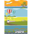 Set of Colorful Travel Banners with Flat Design vector image