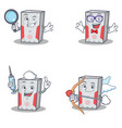 set of computer character with detective geek vector image vector image