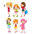set of female character vector image