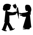 silhouette of a boy and girl vector image
