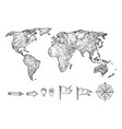 sketched style world map and navigation elements vector image vector image