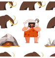 stone age animal fur wearing caveman and mammoth vector image vector image