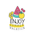 summer vacation logo with abstract fruits kids vector image vector image