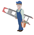 The decorator or handyman standing with ladder vector image vector image