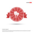 theatrical masks icon - red ribbon banner vector image