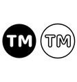 tm mark icon vector image vector image