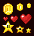 Video game 8 bit assets isolated coin star and