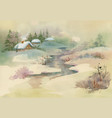 watercolor rural house in winter day vector image vector image