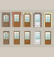 wooden doors in the wall vector image vector image