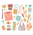 zero waste reusable objects ecology life and vector image