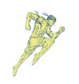 muay thai fighter kicking side drawing vector image
